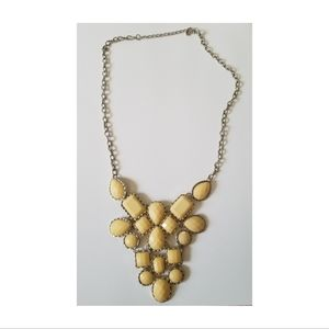 Cream Colored Chunky Bib Style Statement Necklace